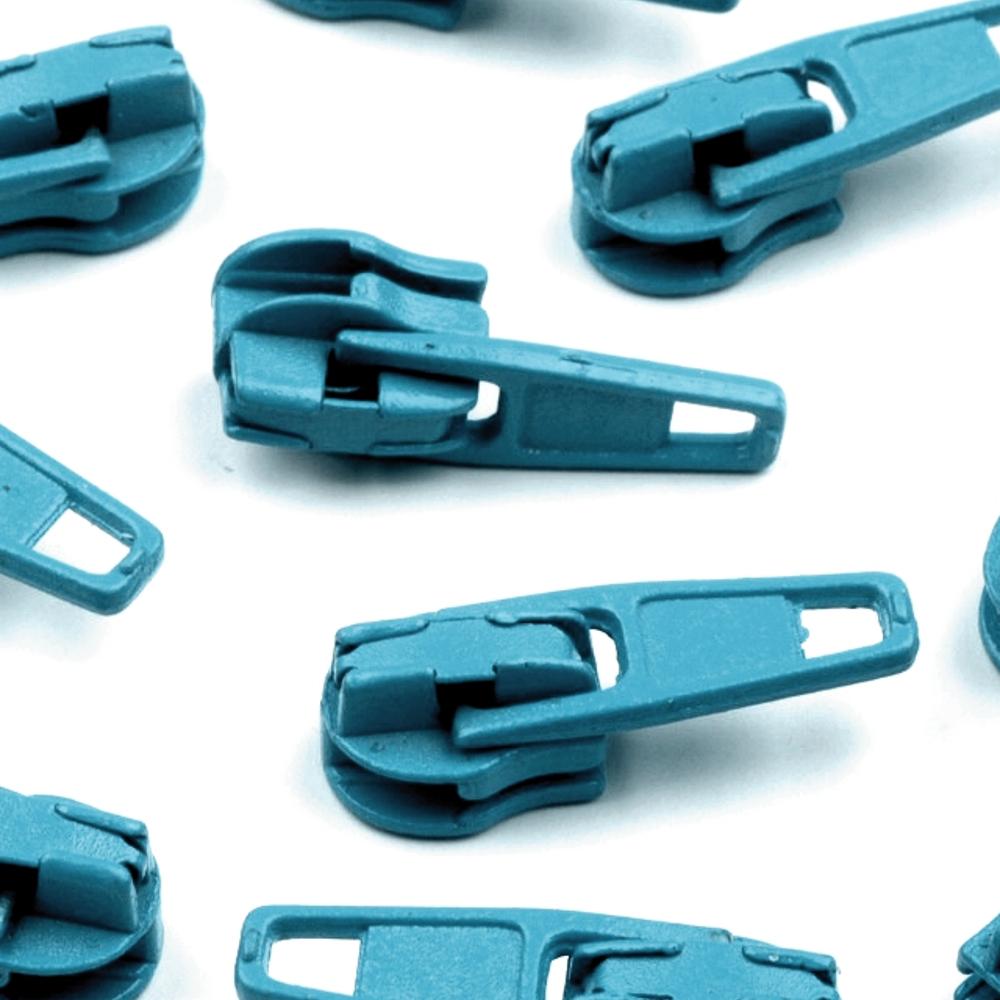 10 Zipper - 3mm - mit Arretierung - Tile Blue (207)