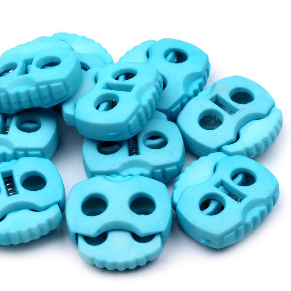 10 Stück - 2-Loch Kordelstopper - 20x20 - Azzuro Blau