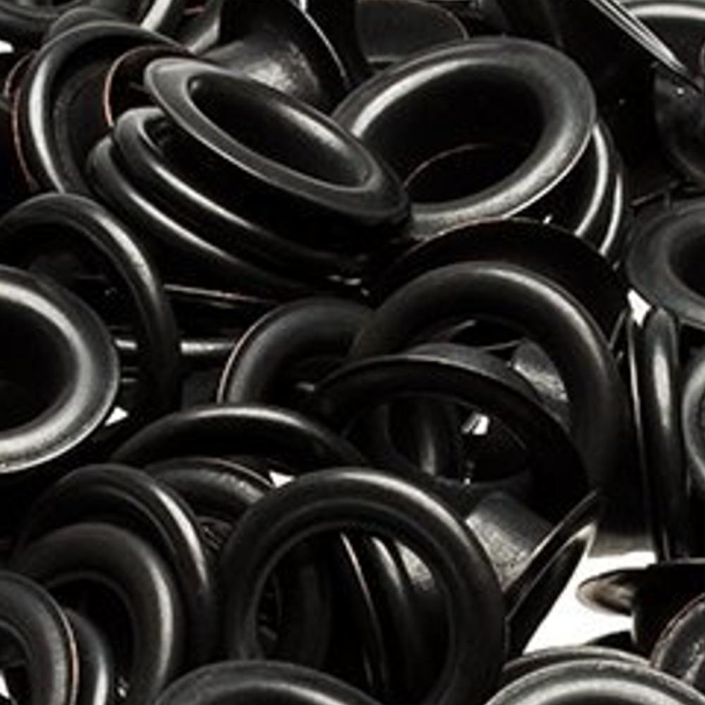 100 Ösen mit Scheiben in Brüniert - 4mm