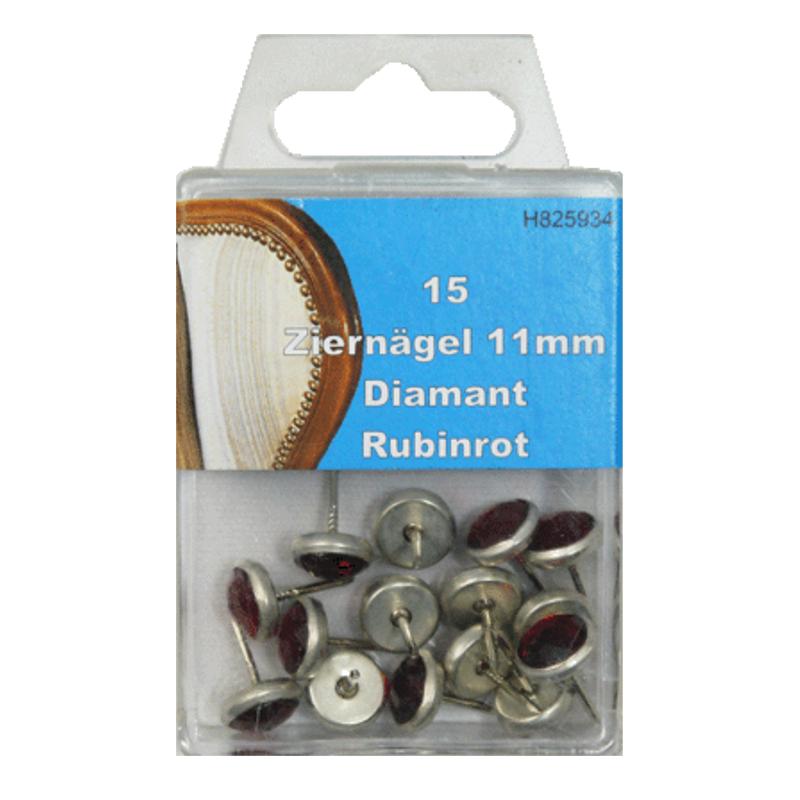 15 Ziernägel - Polsternägel - 11mm - Diamant Rubinrot
