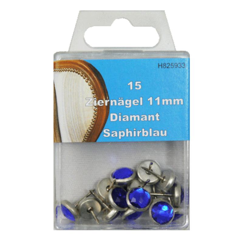 15 Ziernägel - Polsternägel - 11mm - Saphirblau