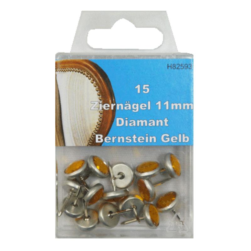 15 Ziernägel - Polsternägel - 11mm - Diamant Bernstein Gelb