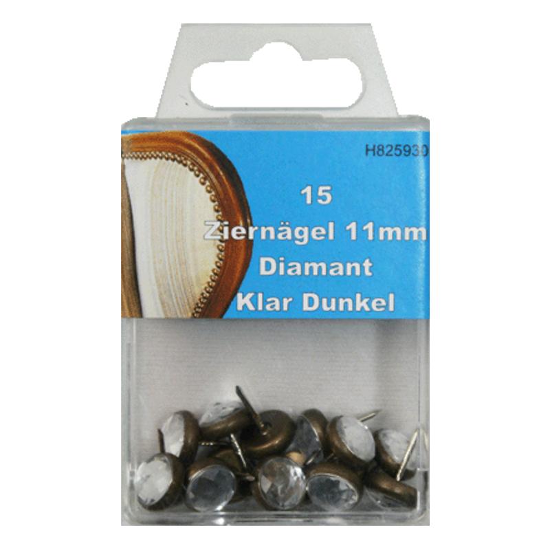 15 Ziernägel - Polsternägel - 11mm - Diamant Klar-Dunkel