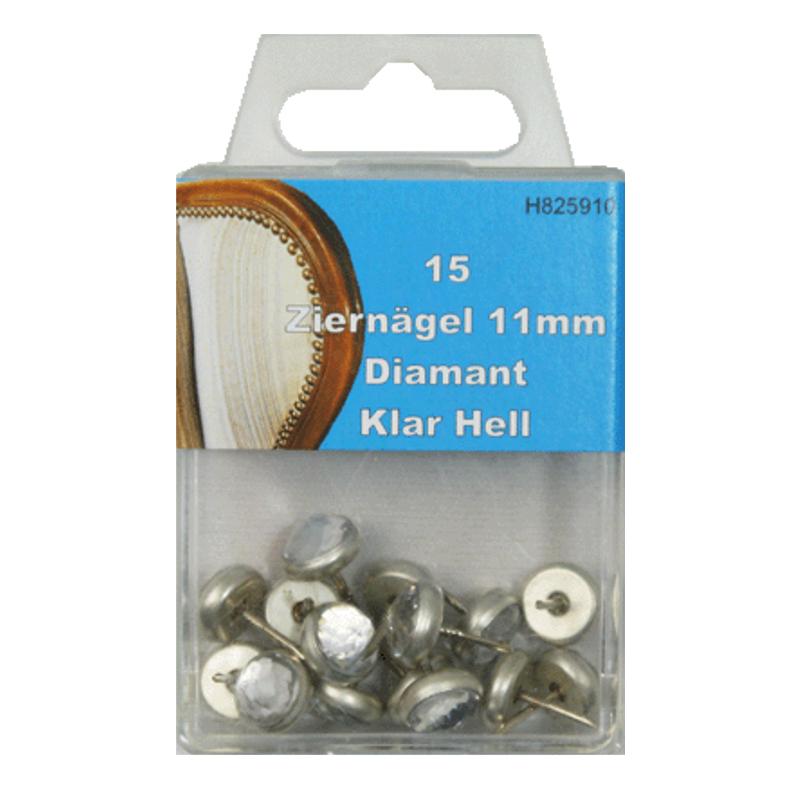 15 Ziernägel - Polsternägel - 11mm - Diamant Klar-Hell