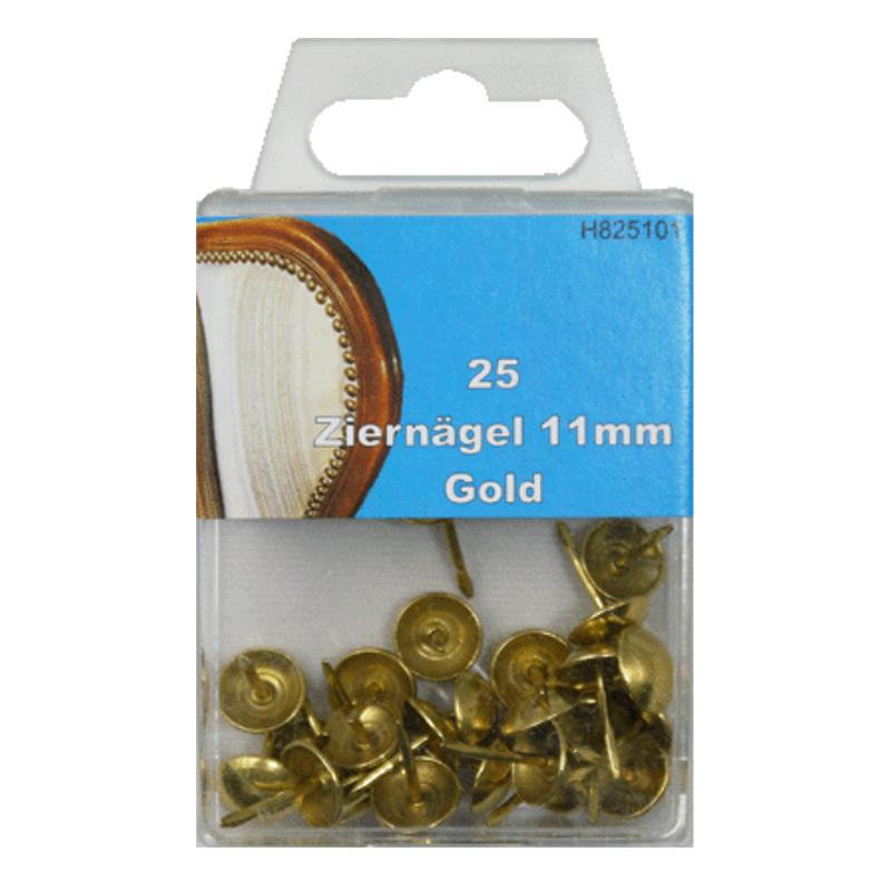 25 Ziernägel - Polsternägel - 11mm - Gold