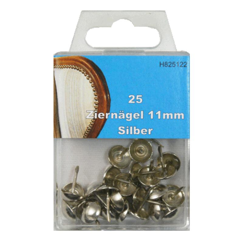 25 Ziernägel - Polsternägel - 11mm - Silber