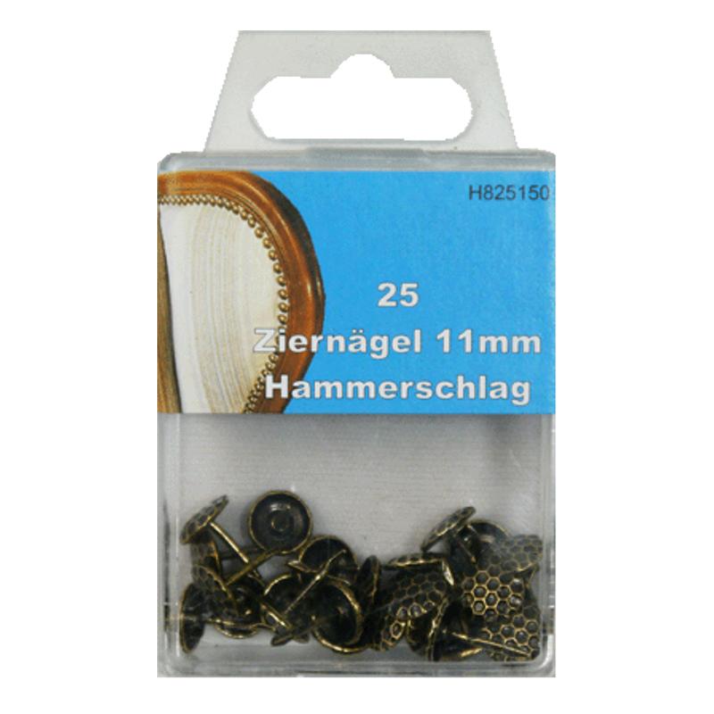 25 Ziernägel - Polsternägel - 11mm - Hammerschlag