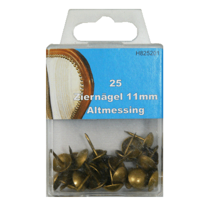 25 Ziernägel - Polsternägel - 11mm - Altmessing