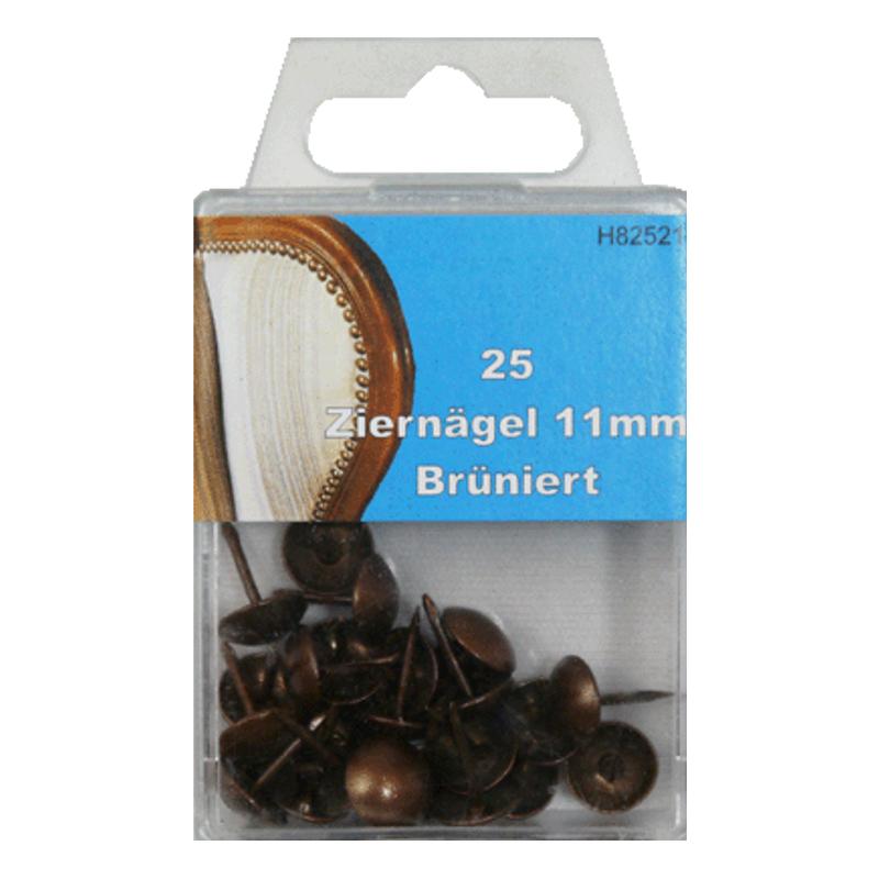 25 Ziernägel - Polsternägel - 11mm - Brüniert