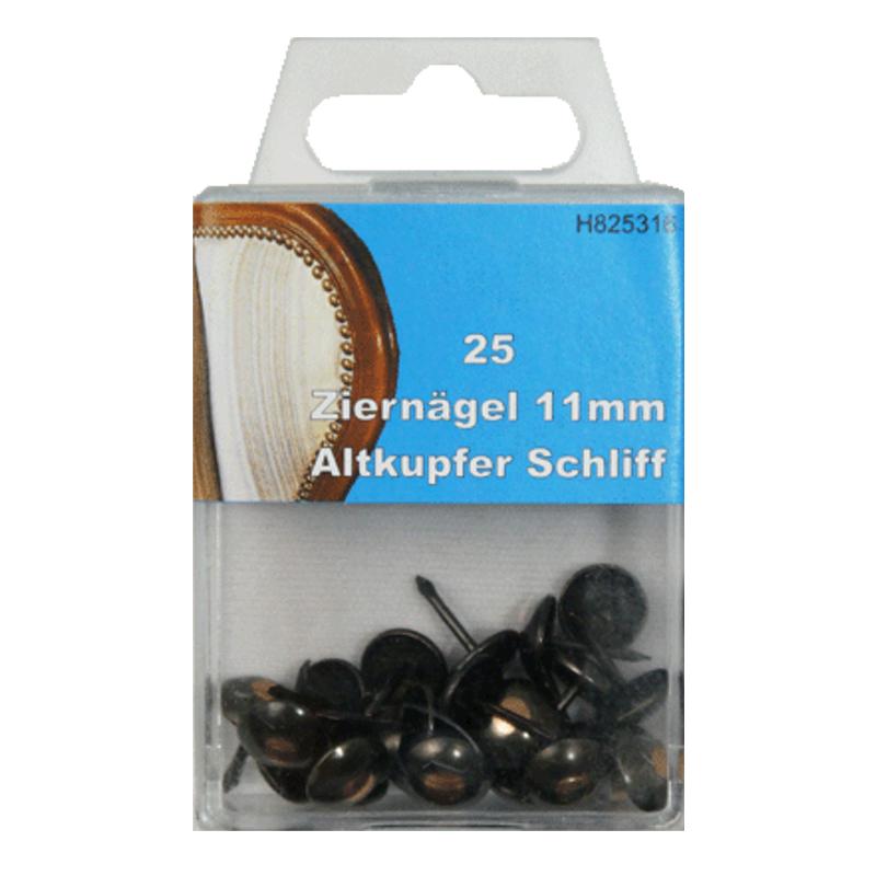 25 Ziernägel - Polsternägel - 11mm - Altkupfer Schliff
