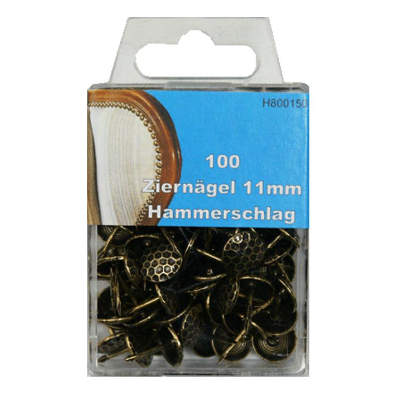 100 Ziernägel - Polsternägel - 11mm - Hammerschlag
