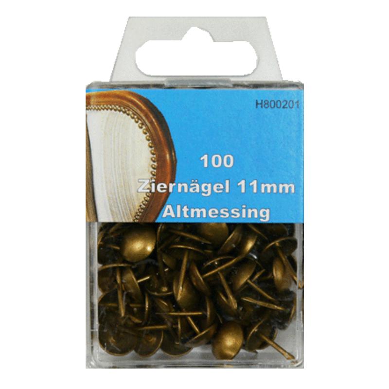 100 Ziernägel - Polsternägel - 11mm - Altmessing
