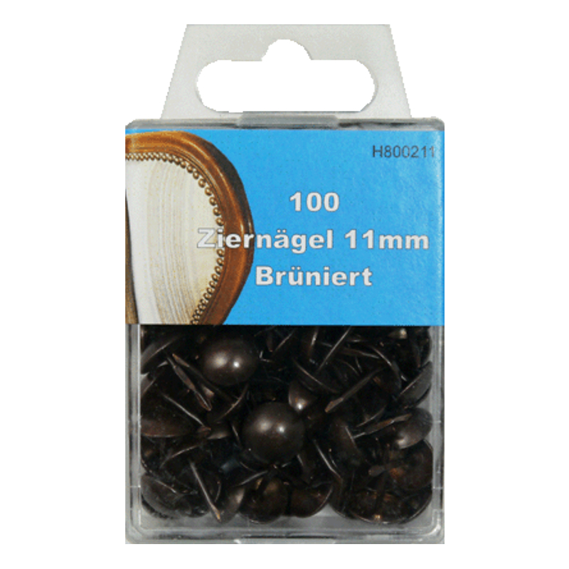 100 Ziernägel - Polsternägel - 11mm - Brüniert