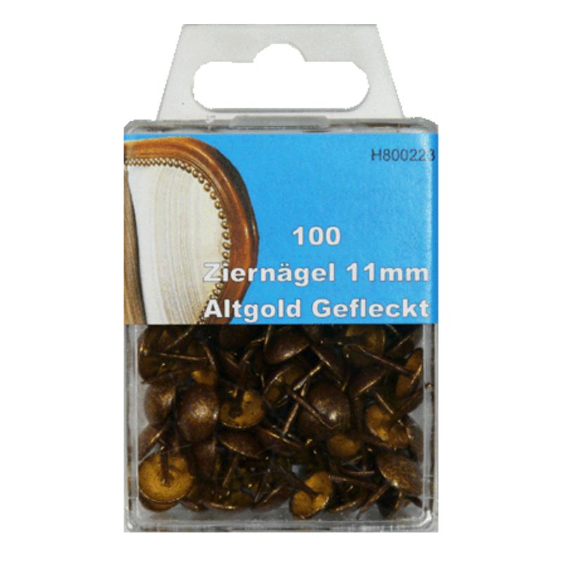 100 Ziernägel - Polsternägel - 11mm - Altgold-Gefleckt