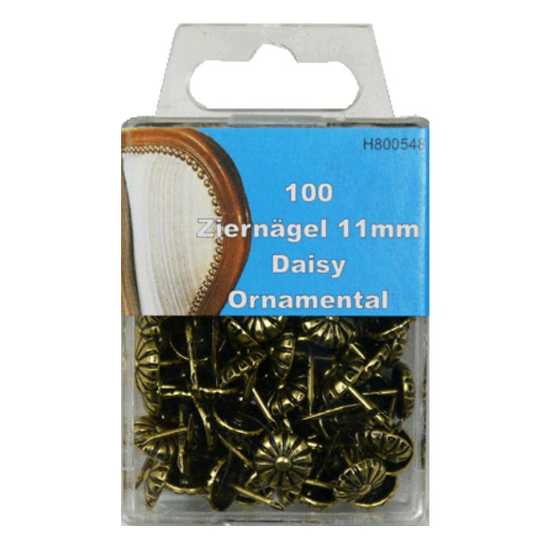 100 Ziernägel - Polsternägel - 11mm - Daisy Ornamental