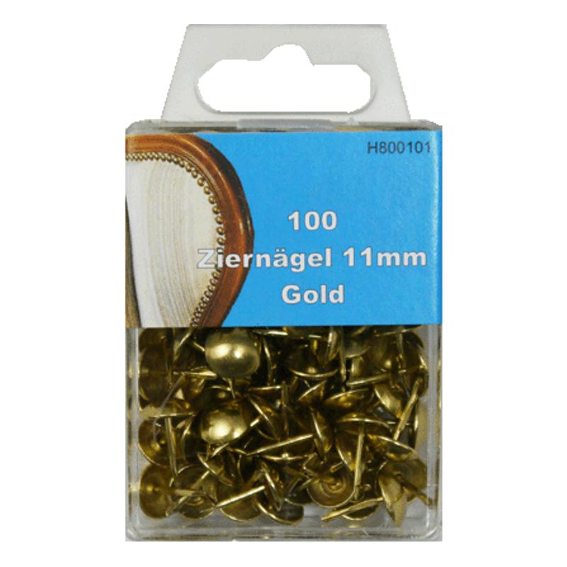 100 Ziernägel - Polsternägel - 11mm - Gold