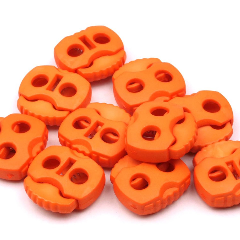 10 Stück - 2-Loch Kordelstopper - 20x20 - Kürbis Orange