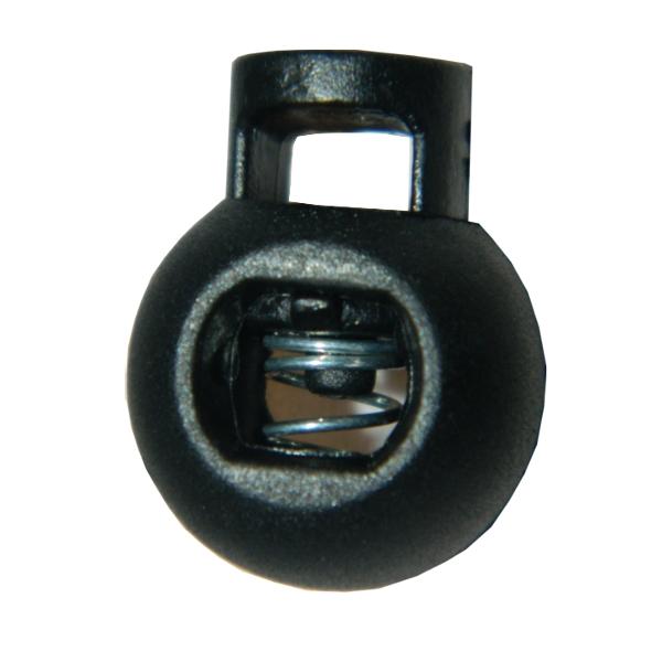 100x 1-Loch Kugel Kordelstopper in Schwarz - 16mm - rund