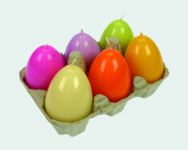 6 hochglänzende farbige Ostereier Kerzen - Kerze -