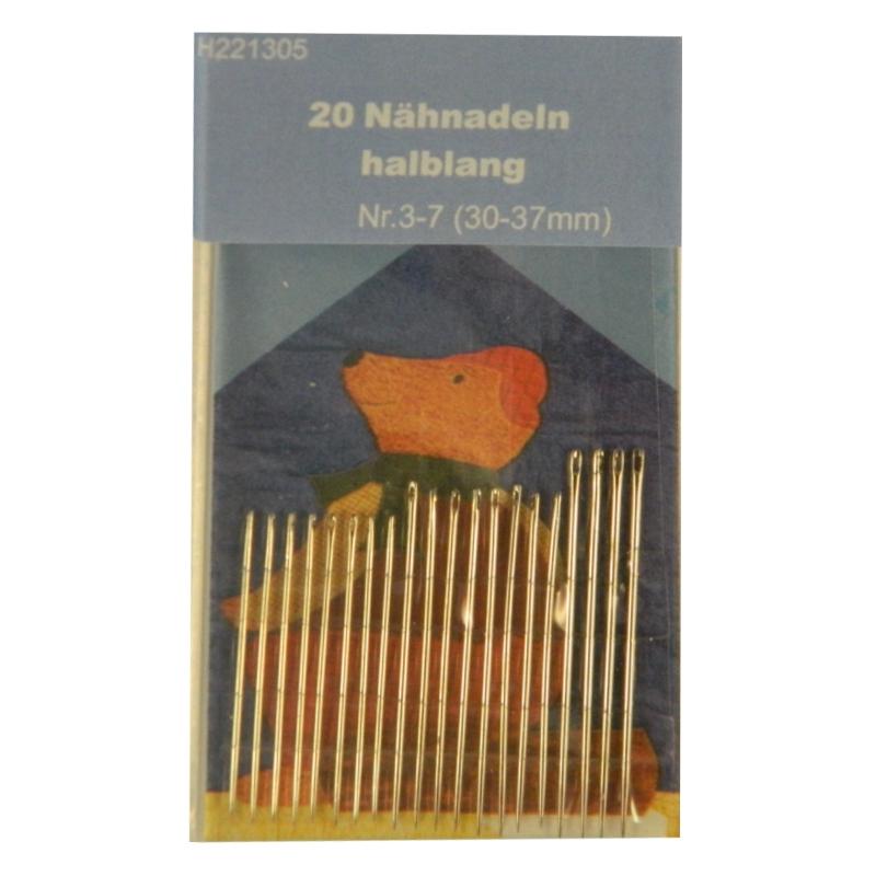 20 Nähnadeln - halblang - Nr. 3-7