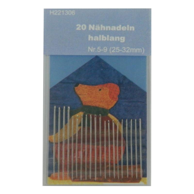 20 Nähnadeln - halblang - Nr. 5-9