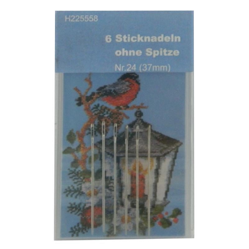 6 Sticknadeln OHNE Spitze Nr. 24