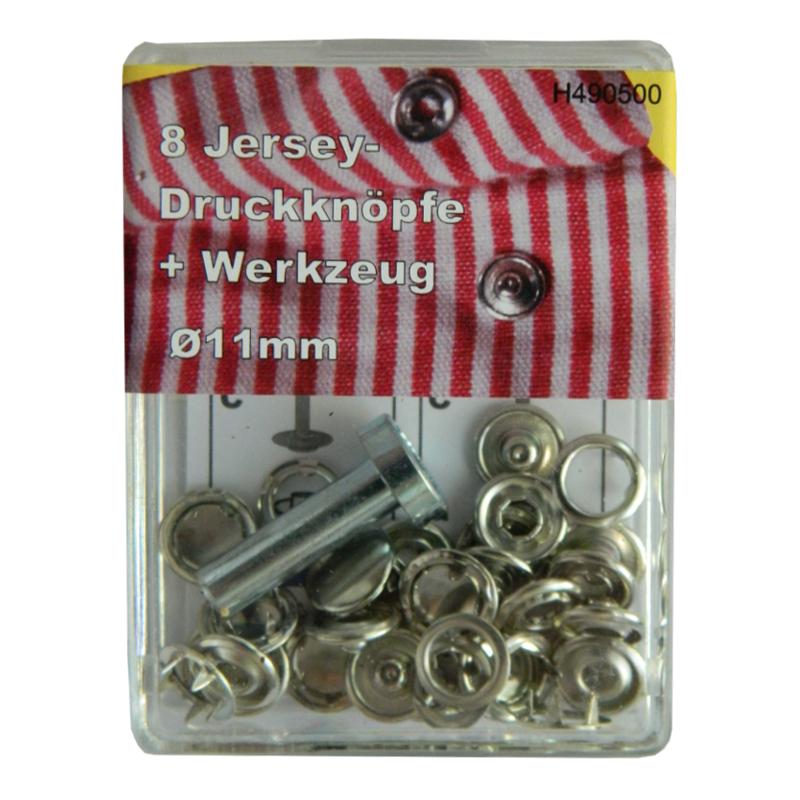 """8 Druckknöpfe """"JERSEY"""" - Messing - Silber - 11mm - Nähfrei!"""