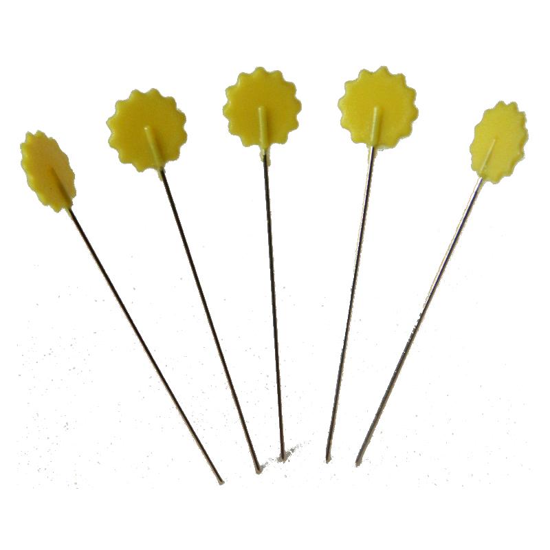 "50 Stecknadeln ""Blumen"" - 42mm - GELB"